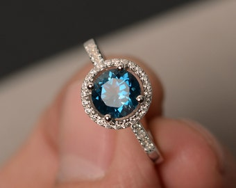London Blue Topaz Rings Halo Ring Blue Topaz Engagement Rings Gemstone Ring Sterling Silver 925