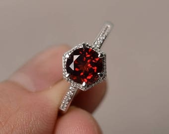 Natural Garnet Ring Silver Round Cut Engagement Ring Anniversary Gift January Birthstone