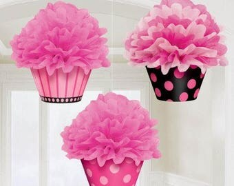 Set Of 3 Fabulous Pink Cupcake Fluffy Tissue Hanging Decorations! - Hanging Tissue Balls - Party Back Drop - Yummy Yummy Party Decor