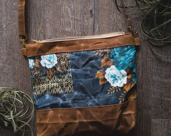 Waxed Canvas blue floral wanderer / Cross body bag / purse / Gifts for her / Waxed Canvas Purse / Waxed Canvas Bag
