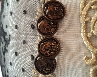 French Vintage Metal Buttons with Detailed BULLS, Fabulous Horned Bulls