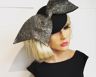 Black Formal Swarovski Fascinator Hat