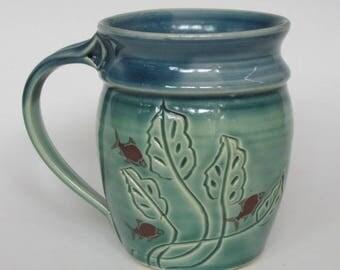 Leaf Mug with Fish
