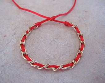 Gold Chain Red String Kabbalah Bracelet. Adjustable. Evil Eye. Protection. String of Fate. Protection. Good Luck. GCRSK