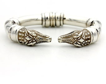 Barry Kieselstein-Cord Alligator Cuff Bracelet in Sterling Silver Large