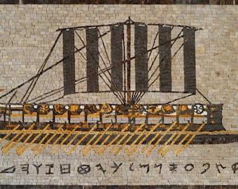 Phoenician ship Marble Mosaic