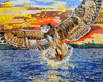 Owl flying In Sunset Marble Mosaic