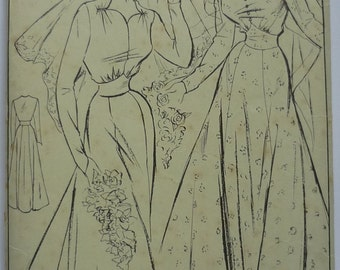 Vintage Sewing Pattern. Style 219. Wedding dress pattern 1940s.