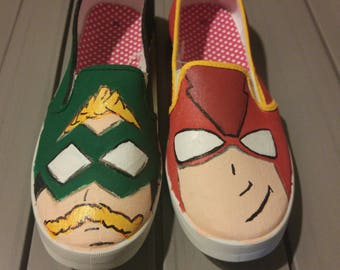 Hand Painted Green Arrow/Flash Slip On Canvas Shoes-MADE TO ORDER.