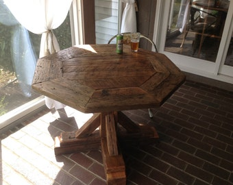 42 inch Octagon reclaimed table reclaimed wood pedestal base