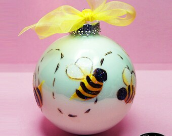 Bumble Bees Ornament - Hand Painted Glass Ball Ornament - Baby's Birth or Birthday or Christmas - Can Be Personalized