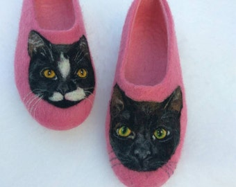 Realistic cat portraits on the slippers Women gift Remembrance cat