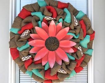 Summer Wreath - Summer Flower Wreath - Chevron Wreath -  Home Decor -  Summer Door Wreath  - Flower Wreath- Everyday Wreath - Mother's Day