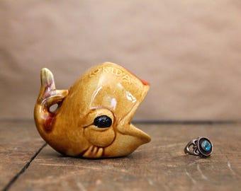 ceramic WHALE RING HOLDER, 1960's Florida souvenir trinket dish