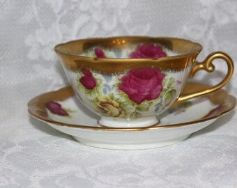 Lefton GZL Occupied Japan Tea Cup Saucer Rose Gold Hand Painted Pink Yellow 1940s Collectible
