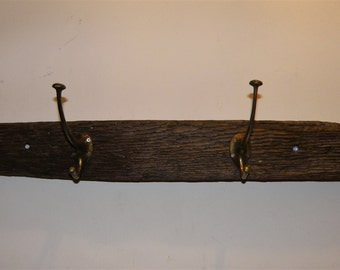 Driftwood Coat Rack With Reclaimed Vintage Hooks
