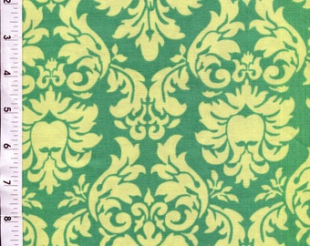 "Michael Miller ""Dandy Damask"" Green Yellow Floral Fabric"