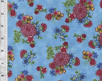 """Paintbrush Studio Ro Gregg """"Pretty in Pink"""" Flower Clusters Blue Fabric"""