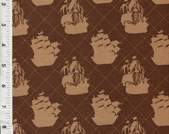 """Riley Blake Emily Taylor """"Pirate Matey"""" Clipper Ships Brown Nautical Fabric"""