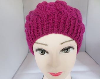Knitted beret, Cerise colour, cable tam, hand knitted hat, ladies beret, tam o shanter, slouchy hat, cable beret, knitted cable hat
