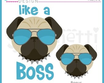 Like a boss, boss clipart, pug clipart, dog clipart, Instant download