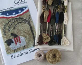 Primitive Punch Needle KIT ~ Sheep - Willow Tree - Crow - Patriotic folk art - Fourth of July - American flag -punchneedle paper pattern