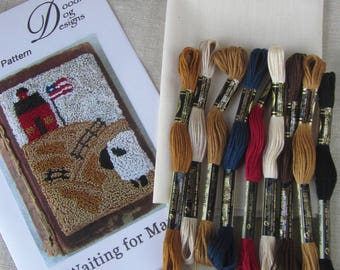 Punch Needle KIT ~ Sheep and Schoolhouse ~ Complete Punchneedle Kit ~ Needle Punch Kit ~ Sheep Punch Needle ~ Sheep Needle Punch