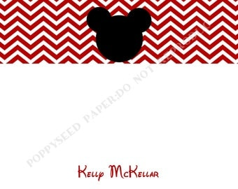 Mickey Mouse note card, personalized flat note cards, Thank You Note, Mickey Mouse stationery with name