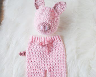 Baby Halloween Costume, Baby Pig Hat, Knit Pig Hat, Crochet Pig Hat, Piglet Halloween Costume, Piglet Baby Costume, Piglet Hat, Baby Hat