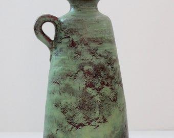 Ruscha Mid Century Mint Green & Brown West German Vase