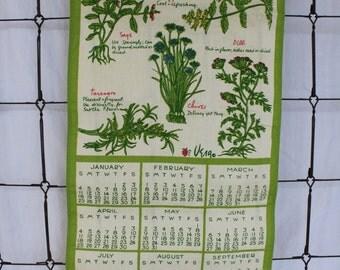 Vera 1976 Linen Kitchen Towel Calendar , Herb Garden calendar, tea towel