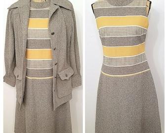1960s two piece dress suit secretary outfit, madmen secretery dress, 1960s mod dress set, size L dress, vintage mod dress and overcoat