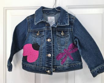 Girl's Denim Jacket, Size 12/18 Months, all Cotton, Flower, ladybug and dragonfly appliques, Spring/Summer/Everyday/Anytime jacket