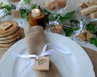 Rustic Wood Wedding Ornaments with Pre-Drilled Holes - Set of Four