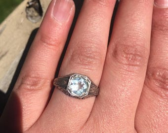 Edwardian Art Deco Natural Aquamarine Sterling Silver Engagement Ring Wedding Ring 1910's 1920's