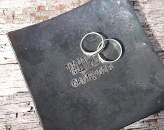 Iron anniversary gift - 6th anniversary wedding ring dish - steel anniversary - western wedding gift - blacksmith made ring bearer dish