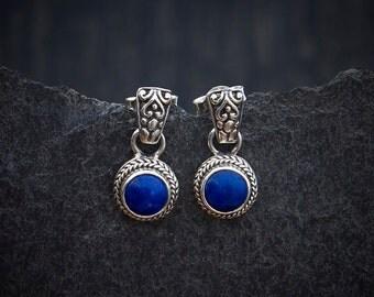 Lapis Earrings, Lapis Studs, Lapis Lazuli and Silver,