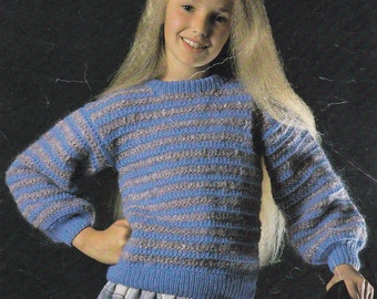 Vintage knitting pattern girl's textured sweater pdf INSTANT download pattern only pdf