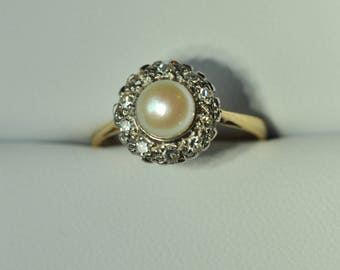 On Hold For Claudia - A Pearl and Diamond Cluster Ring