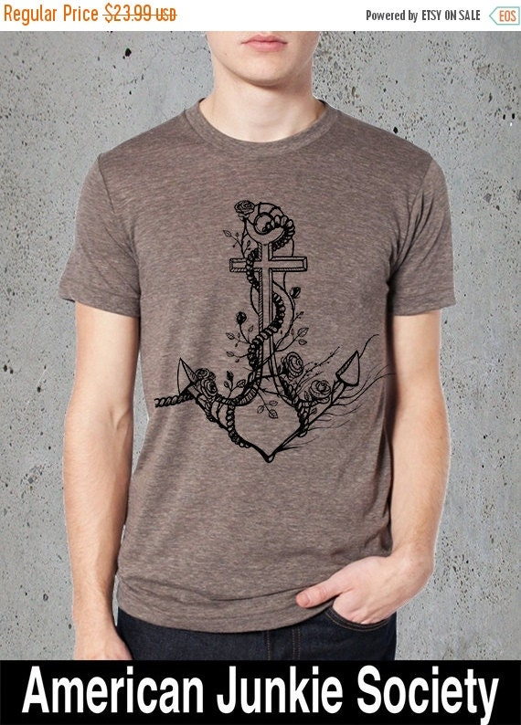 Items Similar To Mens Anchor Shirt Anchor T Shirt Nautical