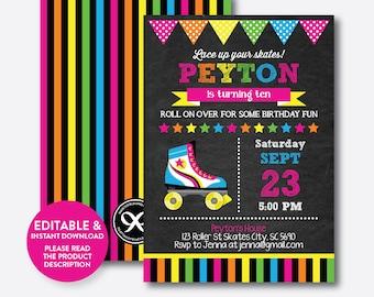 Instant Download,  Editable Roller Skating Birthday Invitation, Roller Skating Invitation, Roller Skate Invitation, Chalkboard (CKB.348)