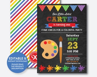 Instant Download, Editable Art Birthday Invitation, Art Invitation, Art Party Invitation, Painting Invitation, Artist, Chalkboard (CKB.87B)