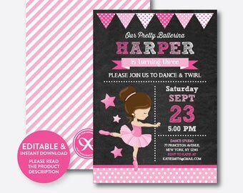 Instant Download, Editable Pink Ballet Birthday Invitation, Ballet Invitation, Ballerina Birthday Invitation, Ballerina Invitation (CKB.415)