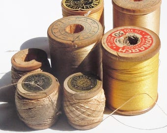 Thread / Vintage Group of Wooden Spools of Yellow Thread / Assortment of 7 / Clarks / Belding / Vintage Color Palette