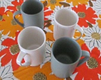 Four Mikasa stoneware mugs Japan streamline design