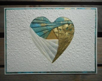 Heart handcrafted iris folded greeting card embossed with shades of teal and gold