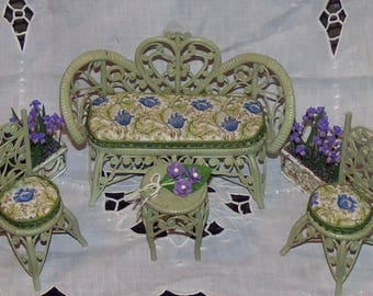 1:12th Dollhouse Rattan Furniture Set.  Sofa, Two Chairs and Table.  Real Rattan.  Painted. Upholstered Seats.