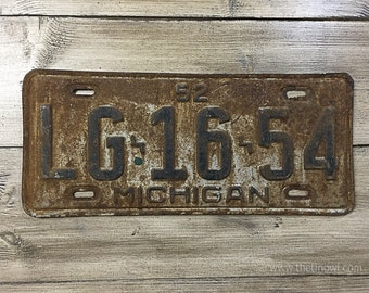 Vintage Michigan License Plate 1952 | Black White Rusty | Man Cave Decor | Old Collectible | For Him | Garage