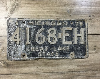 Vintage Michigan License Plate 1979 | Black White Rusty | Man Cave Decor | Old Collectible | For Him | Garage