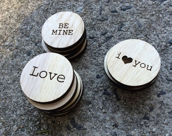 Valentine's Day Love Notes - Wooden Engraved Tokens of Affection Memory Game Gift - Wooden Game Gift
